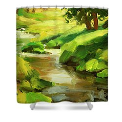 Shower Curtain featuring the painting Verdant Banks by Steve Henderson