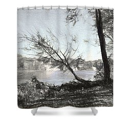 Vergennes Falls Digital Charcoal Shower Curtain