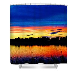 Vermillion Sunset Shower Curtain by Eric Dee