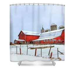 Shower Curtain featuring the digital art Vermont Barn by Sharon Batdorf