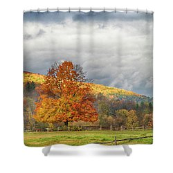 Shower Curtain featuring the photograph Vermont Fall Colors After The Rain by Jeff Folger