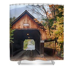 Vermont Fall Colors Over The Middle Bridge Shower Curtain