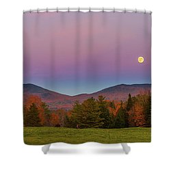 Vermont Fall, Full Moon And Belt Of Venus Shower Curtain