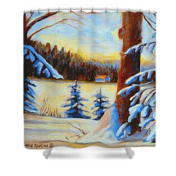 Vermont Log Cabin Maple Syrup Time Shower Curtain by Carole Spandau