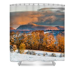 Vermont Snowliage Scene Shower Curtain