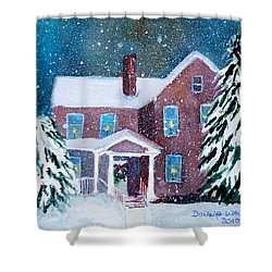 Shower Curtain featuring the painting Vermont Studio Center In Winter by Donna Walsh