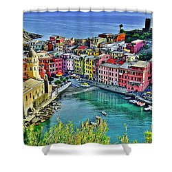 Vernazza Alight Shower Curtain by Frozen in Time Fine Art Photography