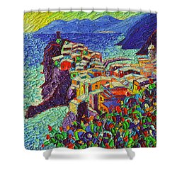 Vernazza Cinque Terre Italy 2 Modern Impressionist Palette Knife Oil Painting By Ana Maria Edulescu  Shower Curtain