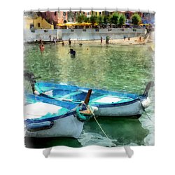 Vernazza Harbor Cinque Terre Italy Shower Curtain by Edward Fielding