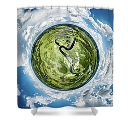 Shower Curtain featuring the photograph Vernon Marsh Tiny Planet by Randy Scherkenbach