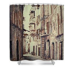 Verona Drawing Of A Narrow Street Shower Curtain
