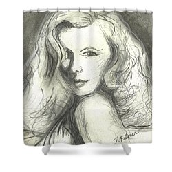Shower Curtain featuring the mixed media Veronica Lake by Denise Fulmer