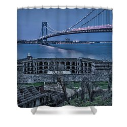 Shower Curtain featuring the photograph Verrazano Narrows Bridge Full Moon by Susan Candelario