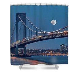 Shower Curtain featuring the photograph Verrazano Narrows Bridge Moon by Susan Candelario