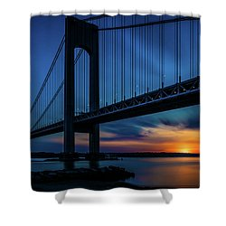 Shower Curtain featuring the photograph Verrazano Sunset by Chris Lord