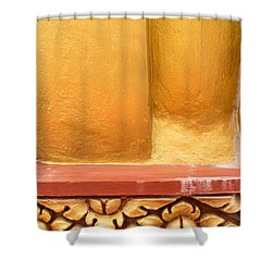 Vertical Abstract View Of Golden Section Of Buddhist Pagoda With Gold Floral Trim Below Shower Curtain