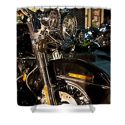 Vertical Front View Of Fat Cruiser Motorcycle With Chrome Fork A Shower Curtain