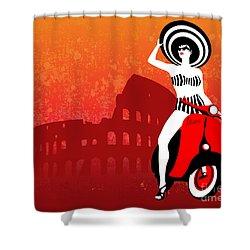Vespa Girl Shower Curtain by Sassan Filsoof