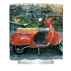 Shower Curtain featuring the painting Vespa Parked by Jeff Kolker