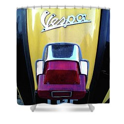 Shower Curtain featuring the photograph Vespa Style by Rebecca Harman
