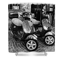 Vespa Twins Black And White Shower Curtain