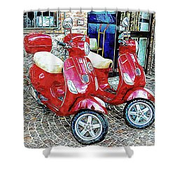 Vespa Twins Red Shower Curtain