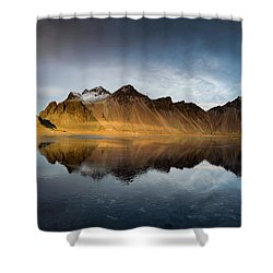 Shower Curtain featuring the photograph Vestrahorn Panao by Allen Biedrzycki