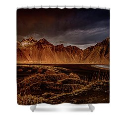 Shower Curtain featuring the photograph Vestrahon With Sunglow by Allen Biedrzycki