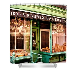 Vesuvio Bakery Shower Curtain by Linda  Parker