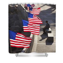 Shower Curtain featuring the photograph Veteran With United States Flags by John A Rodriguez