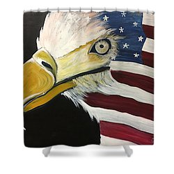 Shower Curtain featuring the painting Veteran's Day Eagle by Laurie Maves ART