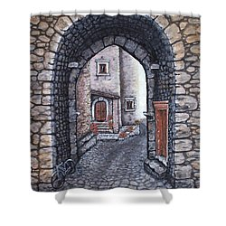 Via In Santo Stefano Shower Curtain by Judy Kirouac
