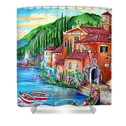 Via Positano By The Lake Shower Curtain by Roberto Gagliardi