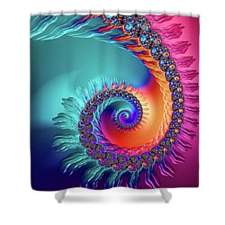 Vibrant And Colorful Fractal Spiral  Shower Curtain