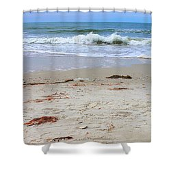 Vibrant Beach With Wave Shower Curtain by Jeanne Forsythe