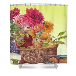 Vibrant Fall Florals And Harvest Shower Curtain