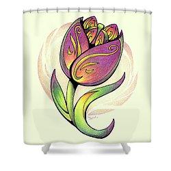 Vibrant Flower 5 Tulip Shower Curtain