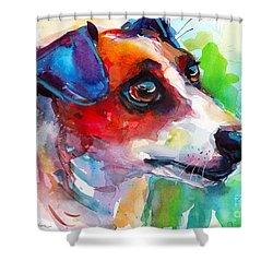 Vibrant Jack Russell Terrier Dog Shower Curtain by Svetlana Novikova