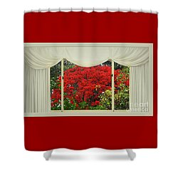 Shower Curtain featuring the photograph Vibrant Red Blossoms Window View By Kaye Menner by Kaye Menner