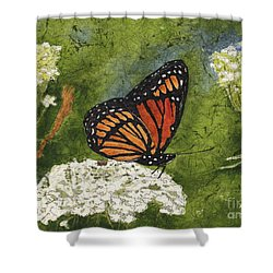 Viceroy Butterfly On Queen Anne's Lace Watercolor Batik Shower Curtain