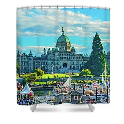 Victoria Bc Parliament Harbor Shower Curtain