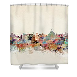 Shower Curtain featuring the painting Victoria Canada Skyline by Bri B
