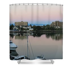 Victoria Harbor Dawn Shower Curtain by Betty Buller Whitehead