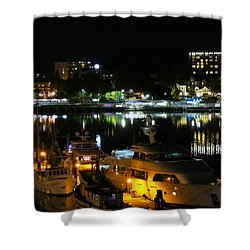 Victoria Inner Harbor At Night Shower Curtain by Betty Buller Whitehead