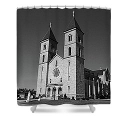 Victoria, Kansas - Cathedral Of The Plains 6 Bw Shower Curtain by Frank Romeo