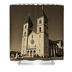 Shower Curtain featuring the photograph Victoria, Kansas - Cathedral Of The Plains Sepia 6 by Frank Romeo
