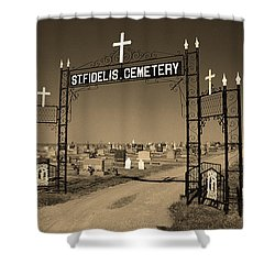 Shower Curtain featuring the photograph Victoria, Kansas - St. Fidelis Cemetery Sepia by Frank Romeo