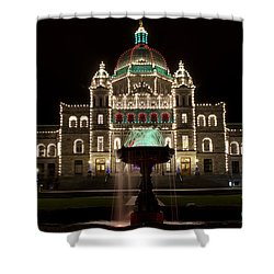 Victoria Parliament Buildings And Fountain At Christmas Shower Curtain
