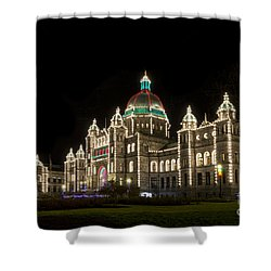 Victoria Parliament Buildings At Night At Christmas Shower Curtain