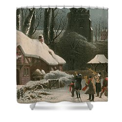 Victorian Christmas Scene With Band Playing In The Snow Shower Curtain